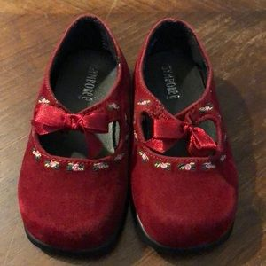 Gymboree Red Velveteen Pink Roses Mary Janes 3